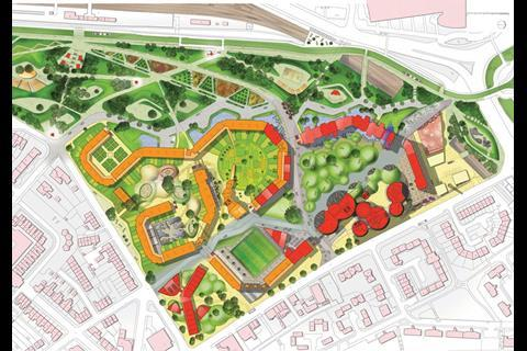 The masterplan for the revitalised Park Hill shows how the landscaping will help transform the scheme. The block to the right of the drawing is the area now being developed, which will feel more urban than the later phases to the left of the image, which